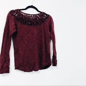 Lucky Brand Maroon Long Sleeve Top with Detail Top